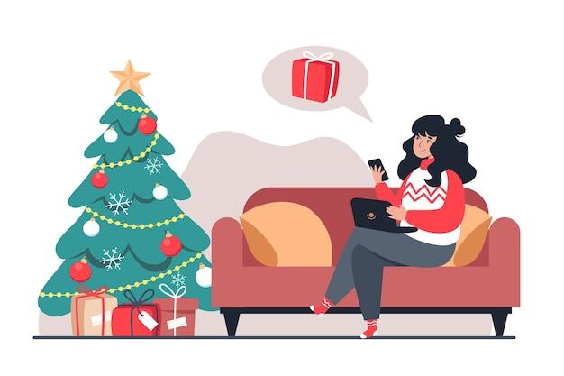 Frau kauft weihnachtsgeschenke online-shop, neujahr online-shopping von zu hause aus