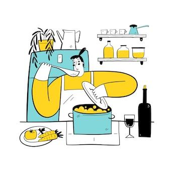 Frau kocht in der küche hausgemachtes essen