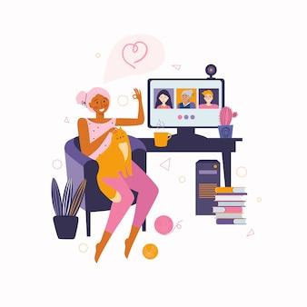 Frau kommuniziert mit freunden und familie online-videokommunikation. zeit zu hause verbringen. videoanruf an freunde