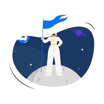 Frau kosmonaut auf mond flache vektor-illustration