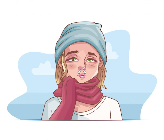 Frau krank mit coronavirus-szene