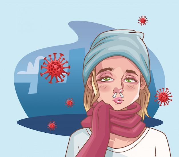 Frau krank mit coronavirus-szenenillustration