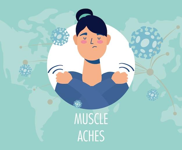 Frau krank mit muskelschmerzen covid19 symptomcharakter