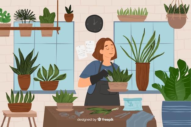Frau kümmert sich um pflanzen