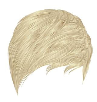 Frau kurze blonde haare fransen.