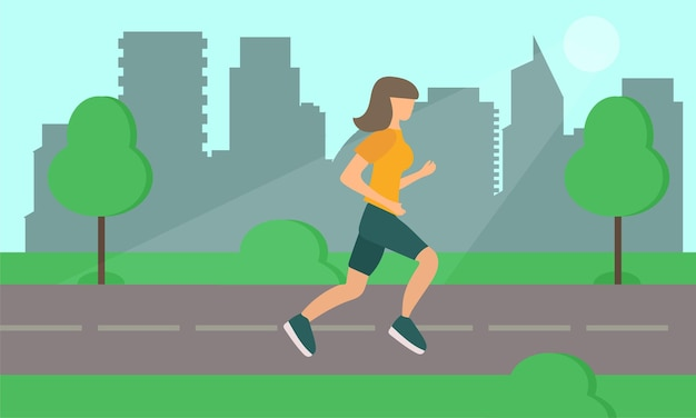 Frau läuft auf der straße im stadtpark. vektor. einfaches flaches design