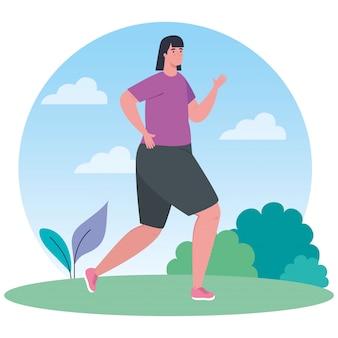 Frau läuft im freien, sportlerin im park, auf weißem hintergrund