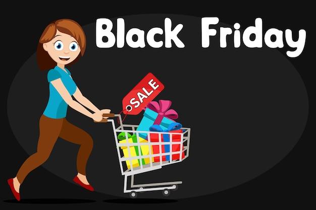 Frau läuft mit einem wagen der geschenke auf einem schwarzen hintergrund, platz für text. black friday verkauf