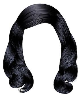 Frau lange haare schwarze farben.