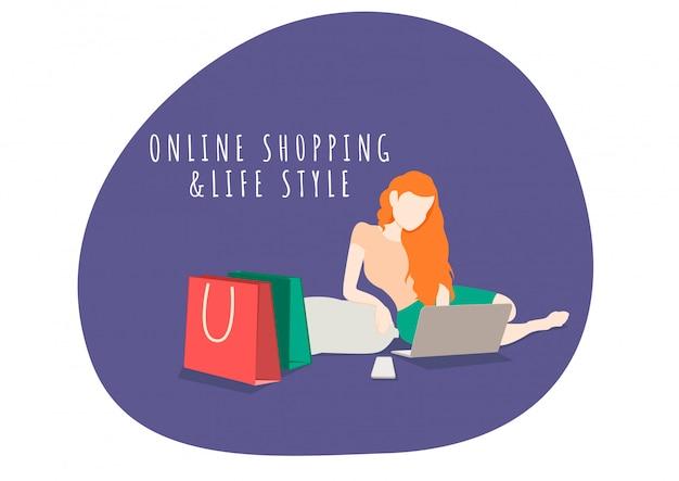 Frau lebensstil charakter online einkaufen mit handy und laptop. online einkaufen und marketing.