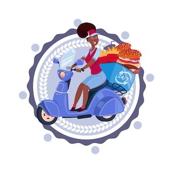 Frau liefern das lebensmittel, das retro- roller-lieferungs-ikone lokalisiertes schablonen-logo reitet