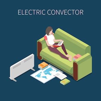 Frau liest auf sofa mit elektrischem konvektor