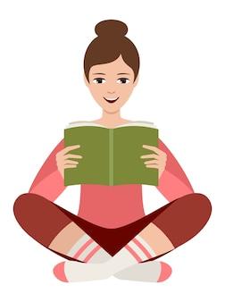 Frau liest ein buch, das auf weiß isoliert wird