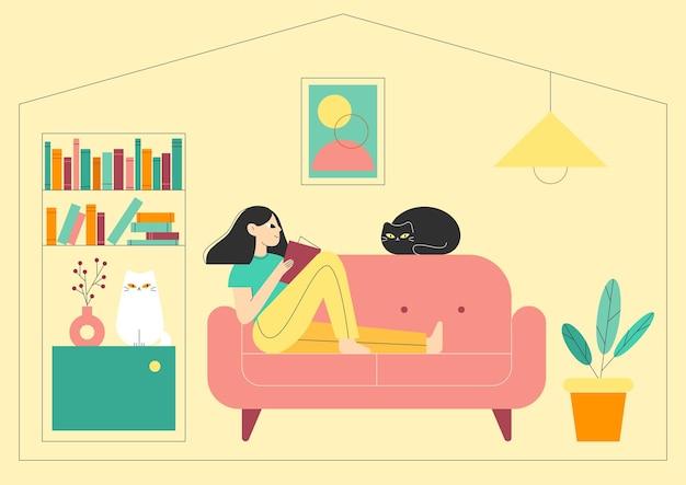 Frau liest ein buch zu hause mit zwei katzen schwarz und weiß bleiben sie zu hause konzeptillustration