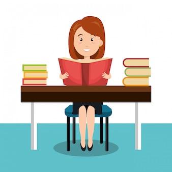 Frau liest lehrbuch r symbol