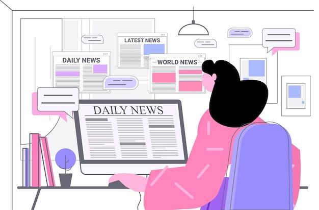 Frau liest tägliche nachrichten auf computermonitorillustration
