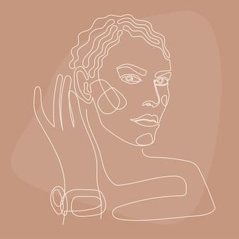 Frau lineart-porträt-muster-hintergrund. linie ertrinken kunstwerke für beauty-shop-poster, kosmetikzentrum-karte, t-shirt-pint, party-flyer für mädchen usw.