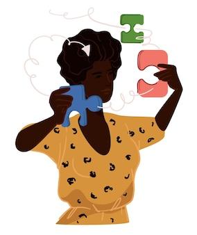 Frau löst probleme, indem sie puzzles zusammensetzt