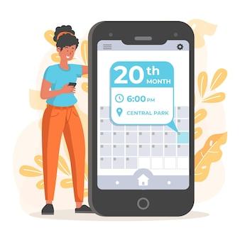Frau macht einen termin auf ihrer app