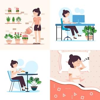 Frau macht ihre täglichen aktivitäten
