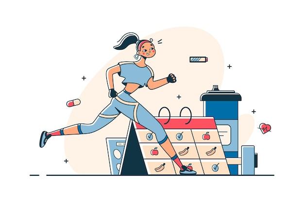 Frau macht sport nach zeitplan
