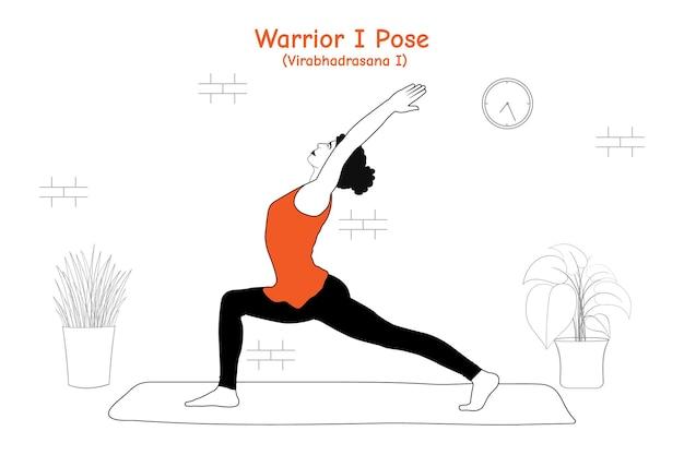 Frau macht yoga asana krieger eine pose oder virabhadrasana eine