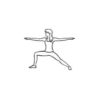 Frau macht yoga in krieger-pose hand gezeichnete umriss-doodle-symbol. fitness, gesunder lebensstil, yoga-posen-konzept