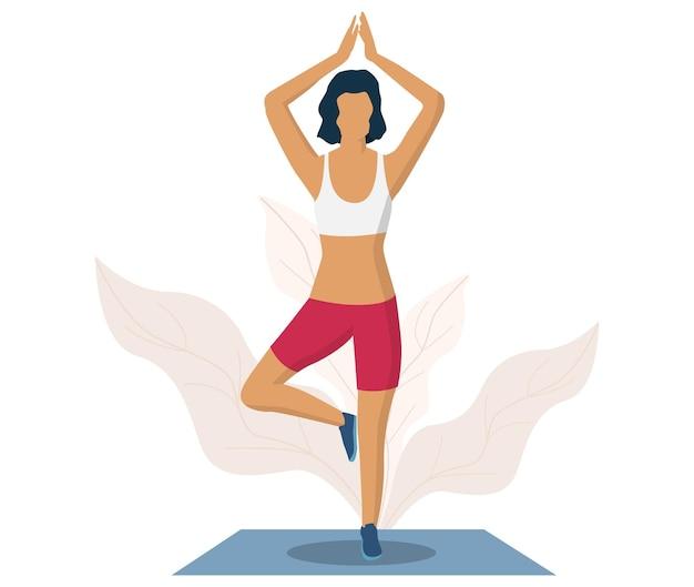 Frau macht yoga-übung, flache vektorillustration. baum-yoga-pose oder vrksasana. fitness-studio, gesunder lebensstil.