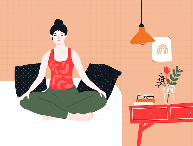 Frau macht yoga und meditation im bett. achtsamkeitsübungen in der lotuspose zu hause. gemütliches zimmerinterieur mit kissen, nachttisch, poster und lampe. ruhe und entspannung-vektor-illustration.