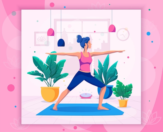 Frau macht yoga zu hause vektor-illustration. gesunder lebensstil.