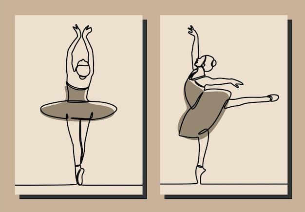 Frau mädchen kleid ballett oneline continuous line art premium-vektor-set