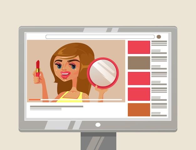 Frau mädchen person youtuber schönheit blogger charakter zeigt und lehrt, wie man make-up mit lippenstift und spiegel macht. online-blog internet-kanal inhalt video tutorial-konzept