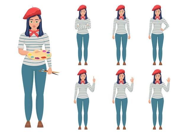 Frau maler design illustration isoliert auf weißem hintergrund