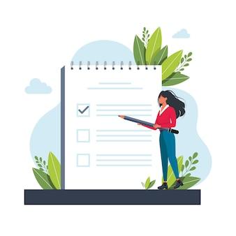 Frau, managerin, die aufgaben in der to-do-liste priorisiert. frau macht sich notizen, plant seine arbeit, unterstreicht wichtige punkte. vektorgrafik für agenda, checkliste, management, effizienzkonzept