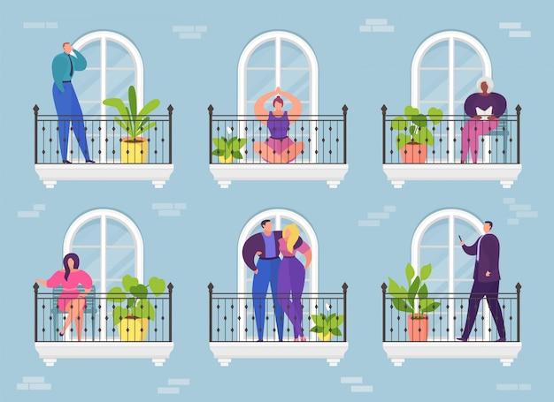 Frau mann in wohnung balkon, architektur hotel gebäude illustration. hauptfenster zur stadt, wohnviertel des hauses. nachbar außerhalb, straßenfassadenansicht-konzept.