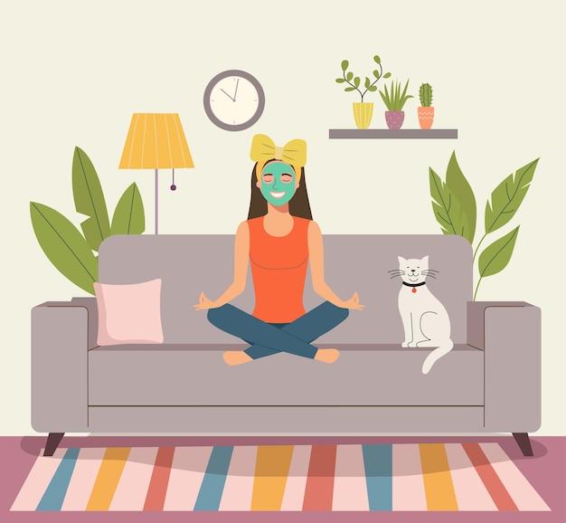 Frau meditiert im wohnzimmer