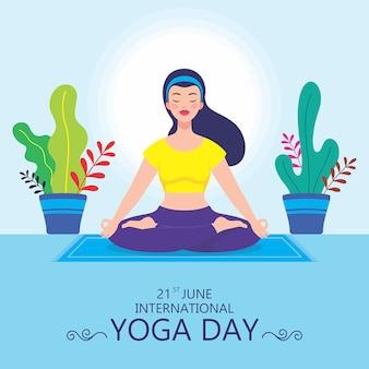 Frau meditiert in lotuspose illustration. frauen machen padmasana yoga für den internationalen yoga tag juni. indisches traditionelles yoga. bunter hintergrund.
