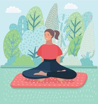 Frau meditierte am morgen und lichtstrahlen auf landschaft, lebendiges weiches und unscharfes konzept