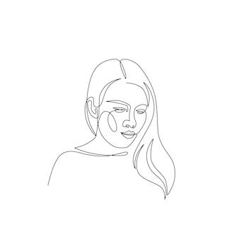 Frau minimale handgezeichnete abbildung. zeichnung im einzeiligen stil