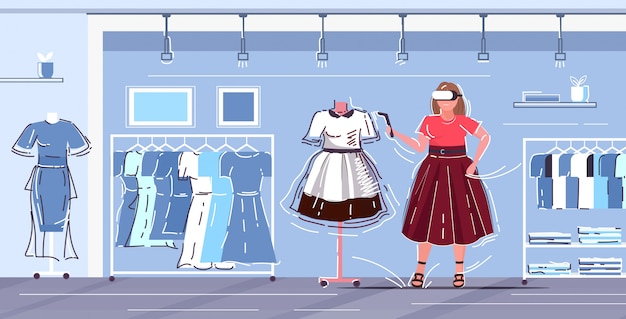 Frau mit 3d-brille und controller-mädchen erleben virtual-reality-headset auswahl kleid digitale technologie konzept moderne weibliche kleidung einkaufszentrum innenraum in voller länge horizontal