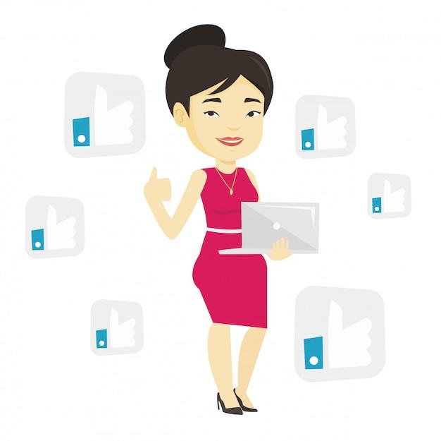 Frau mit ähnlichen sozialen netzwerkknöpfen.