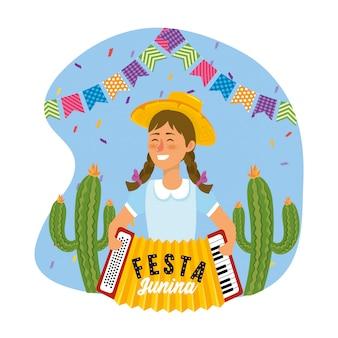 Frau mit akkordeon- und partydekoration