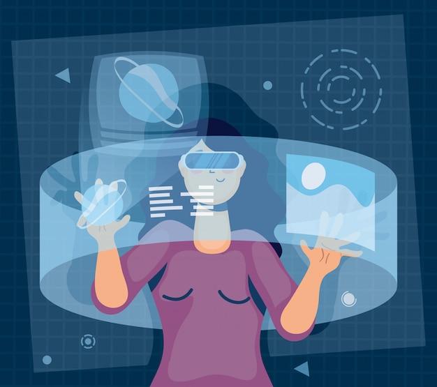 Frau mit augmented reality-technologie