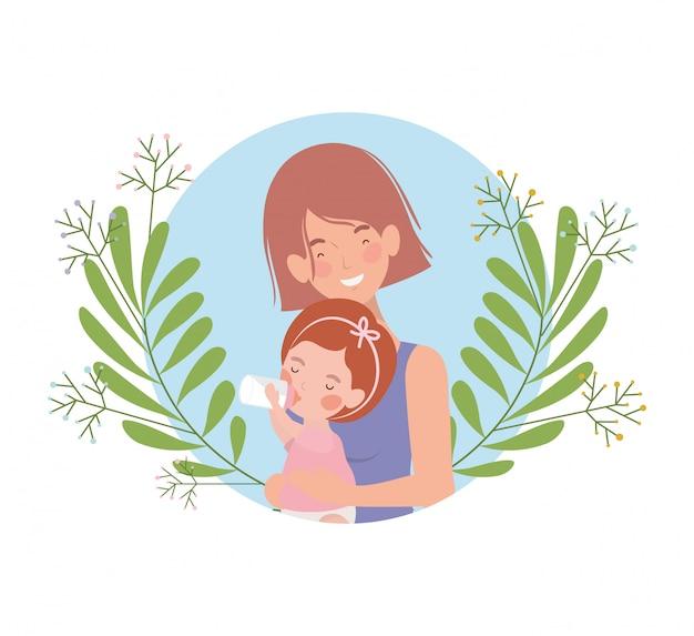 Frau mit babyavataracharakter