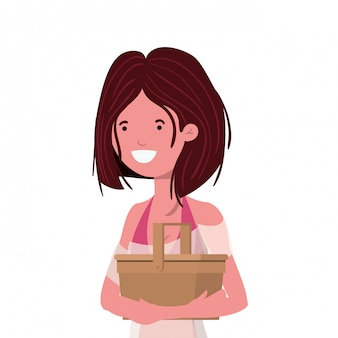 Frau mit badeanzug und strohpicknick
