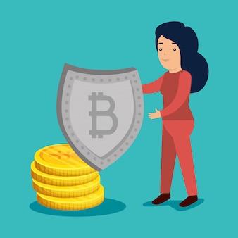 Frau mit bitcoin- und yenmünzen zum austauschen