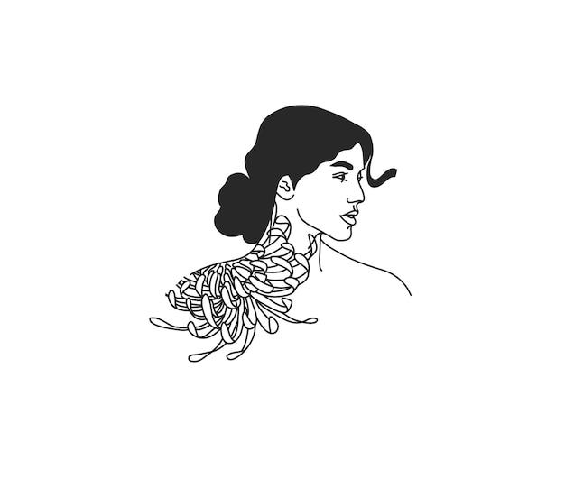 Frau mit blumen und mond heilige linienkunstikone im einfachen stil lokalisiert auf weißem hintergrund