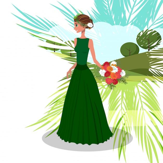Frau mit blumenstrauß der pfingstrosen-vektor-illustration