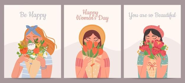Frau mit blumenstrauß. fröhlicher internationaler frauentag, valentinstag und muttertag. schönheitsmädchen und frühlingsblumensträuße vektorkartensatz. illustration junge frau, feiertags-muttertagskarte