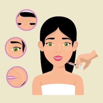 Frau mit botox-behandlung